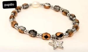 bracciale acciaio silver  perle vetro oro grigio  stella  strass