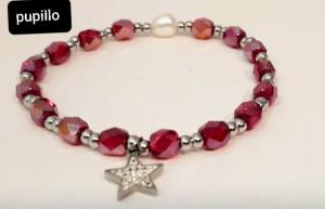 bracciale acciaio silver  perle vetro rosso  stella  strass