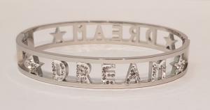 bracciale acciaio silver manetta  scritte dream strass