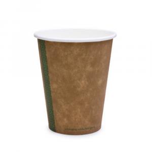 Bicchieri biodegradabili cartoncino avana 360ml serie green stripe