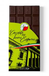 Tavoletta di Cioccolato fondente al 72% e fragola confezione da 80 gr