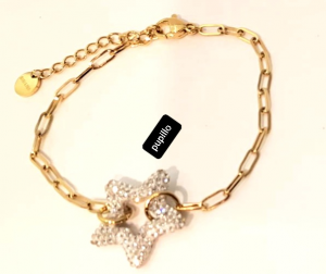 bracciale  acciaio gold   stella strass bianca