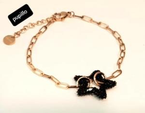 bracciale  acciaio gold rose   stella strass nero