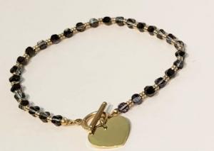 bracciale acciaio gold  perle  vetro cuore
