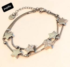 bracciale acciaio silver doppio file stelle strass