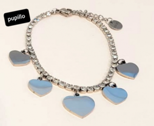 bracciale acciaio silver zirconi cuori pendenti