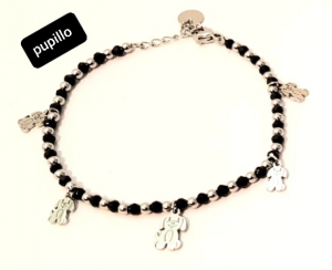 bracciale acciaio silver perle vetro gattino