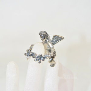 Putto In Silver 925 With Crown Of Flowers