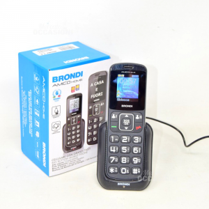 Telephone Brondi Friend Home Two Sim Black With Base Rechargeable Sos And Torch