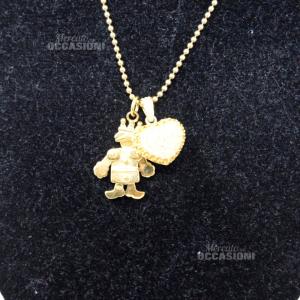 Collana Ultima Edizione In Argento 925 Con Bagno Oro Incluso Di 2 Charm