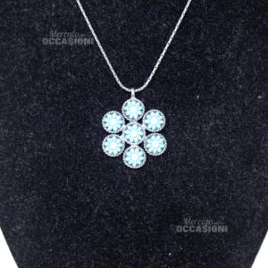 Collana In Acciaio Di Prosa Artigianato Made In Italy, Fiore Perline Azzurro