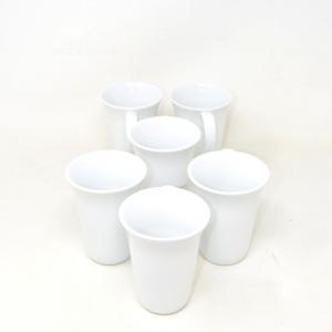 6 Tazze Bianche In Ceramica Alessi TOYO ITO 2006