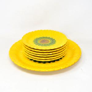 Piatto Porta Dolce + 6 Piattini A Forma Di Girasole Ceramica Made In Italy
