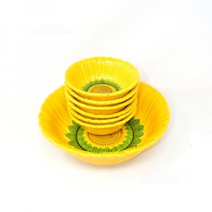 Ciotola Grande + 6 Ciotoline A Forma Di Girasole Ceramica Made In Italy