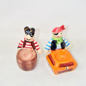 2 Porta Uova In Ceramica A Forma Di Pirati