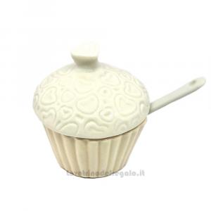 Zuccheriera Cupcake in porcellana 8x7 cm - Bomboniere matrimonio