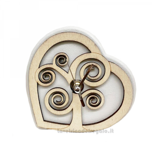 Orologio da tavolo Cuore con albero della vita in legno 12x12 cm - Bomboniera matrimonio