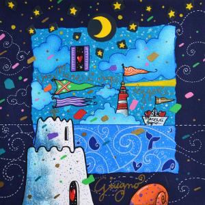 Agostini Andrea Un mare di sogni leggeri Serigrafia Formato cm 25x25