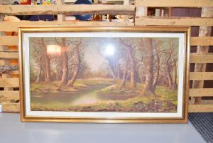 Quadro Dipinto Paesaggio Bosco Firmato Barbaglia Cornice Dorata 79 X 139 Cm