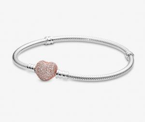 Bracciale Moments – Maglia snake in argento con chiusura a cuore rose pavè – 18