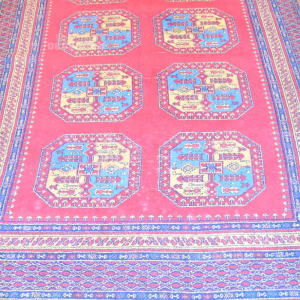Wool Carpet Red Blue And Ocher,size 190x270 Cm