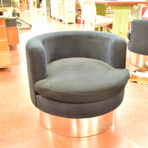 Armchair Design Round In Fabric Blue With Base Steel