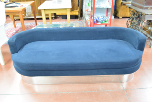 Sofa Design Round In Alcantara Blue With Base Steel