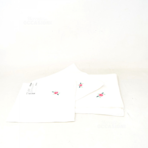 Napkins 6 Pieces In Cotton White With Embroidery Flower Pink Hand Made