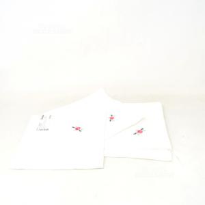 Tovaglioli 6 Pezzi In Cotone Bianco Con Ricamo Fiore Rosa Fatto A Mano