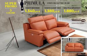 DIVANO TESSUTO PRIMULA 2/P CON 2 RECLINER ELETTRICI