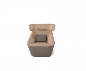 ADHAM - Poltrona design con pouf poggiapiedi abbinato in pelle o tessuto tecnico antimacchia e antigraffio