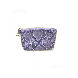 Portamonete Carpisa Purple Pythoned New 12x8 Cm