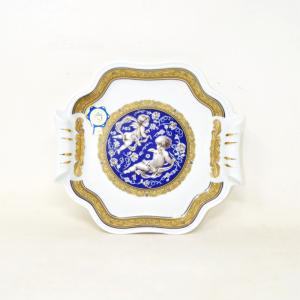 Vassoio In Porcellana Decorato A Mano Con Putti Oro 24 Karati Tipo Limoges 20 X 20 Cm.