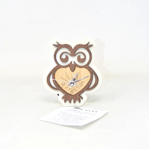 Table Clock With Owl Wood And Metal 13 Cm
