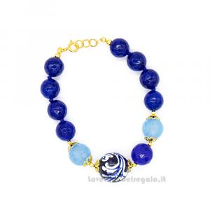 Bracciale agata angelite e blu con sfere in ceramica di Caltagirone - Gioielli Siciliani