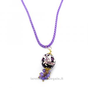Collana ciondolo viola in ceramica di Caltagirone con cordoncino - Gioielli Siciliani