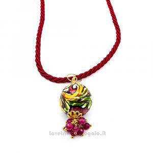 Collana ciondolo rosso in ceramica di Caltagirone con cordoncino - Gioielli Siciliani