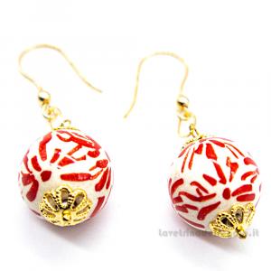 Orecchini coralli sfere in ceramica di Caltagirone - Gioielli Siciliani