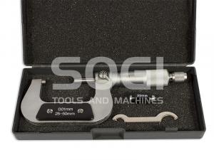 MICROMETRO CENTESIMALE PER ESTERNI DA 25 A 50 mm SOGI TERMINALI CROMATI MIC-25-50 CALIBRO ESTERNI