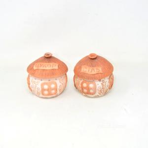 Pair Jars Etnici Shape Of Capanna In Terracotta