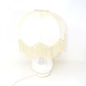 Abatjour With Base Ceramic Effect Pearl And Lampshade With Fringes 38 Cm Height