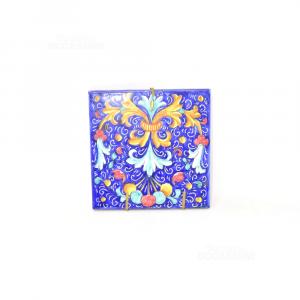 Tile Hand Painted Deruta 15x15 Cm Background Blue