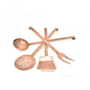 Ladles Copper From Appedere 4 Pieces 35 Cm