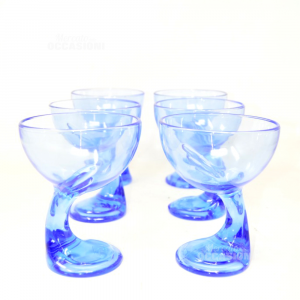 6 Coppe Icecream / Fruit Salad Glass Blue Bormioli Made In Italy
