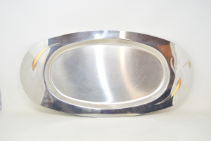 Tray Vemi Steel Inoxoval With Decors Gold Plated 55x28 Cm