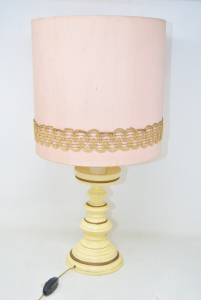Abat-jour Wooden Base With Lampshade Pink 50 Cm