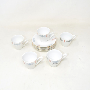 Coffee Cups Made In China 5 Pieces + Plates