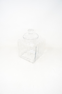 Glass Vase Transparent Square Holder Candy With Lid 23x15x15 Cm