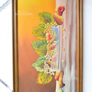 Quadro Dipinto Su Tela Raffigurante Natura Morta Frutta Di Berti, 130x70 Cm T