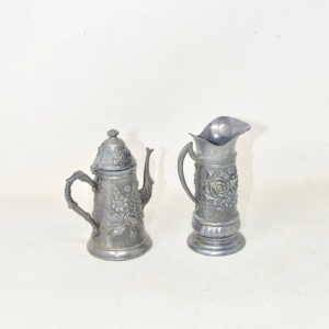 Pair Jars In Pewter 11 Cm
